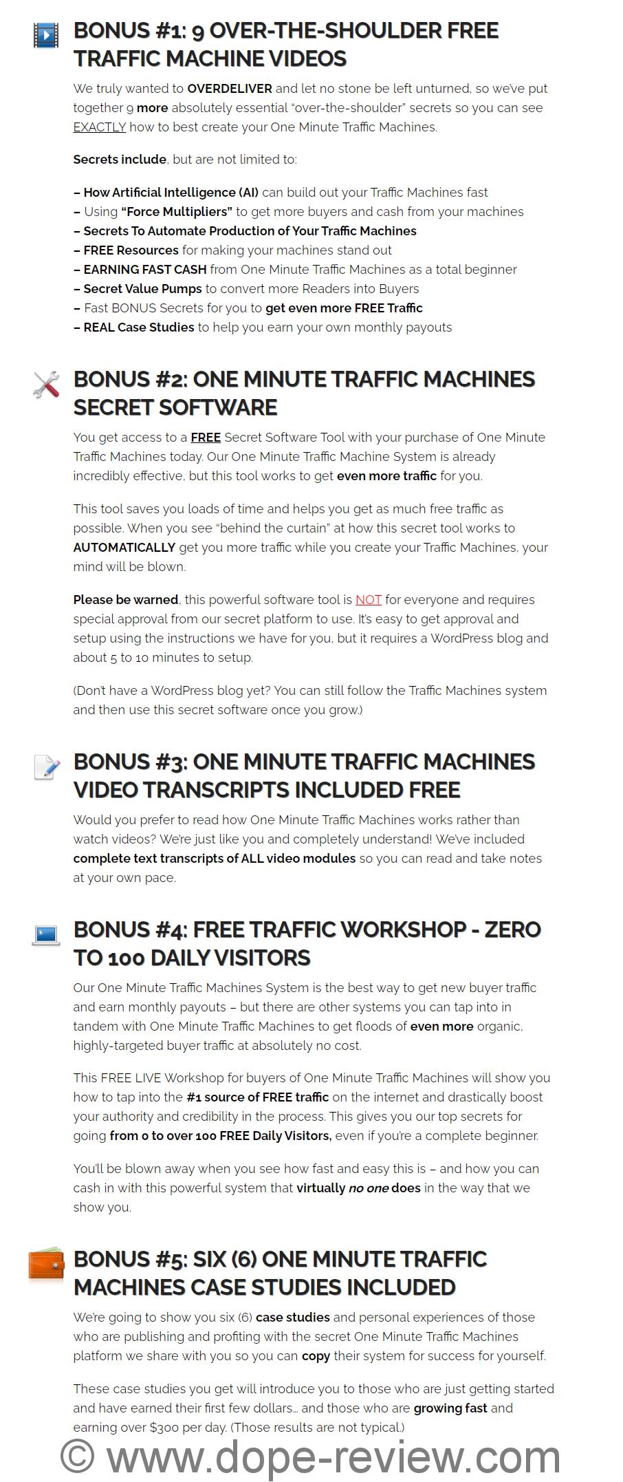 One Minute Traffic Machines Bonus