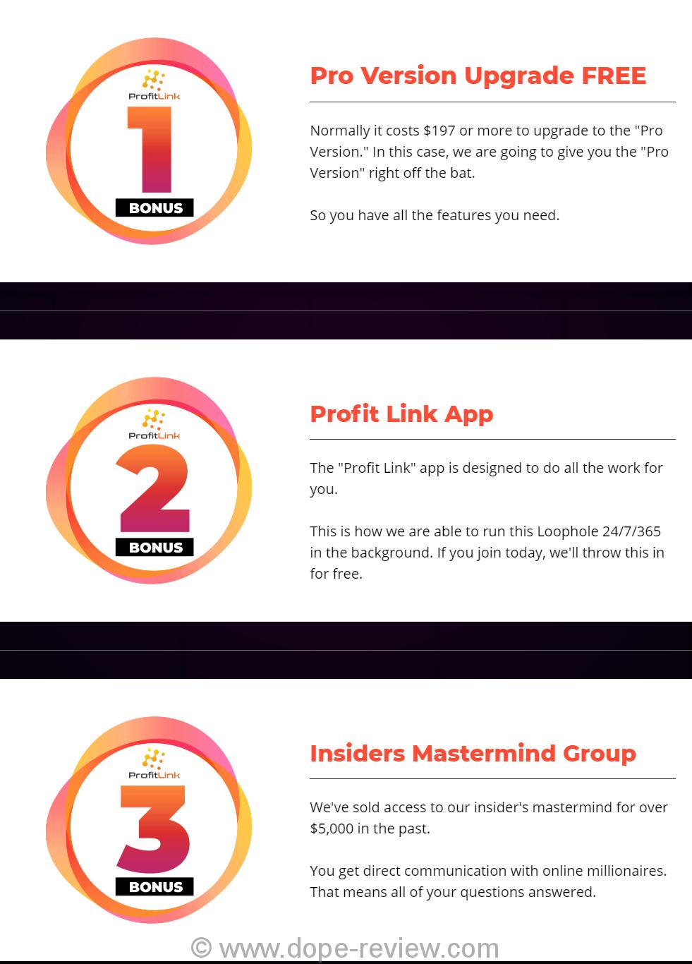 Profit Link Method Bonus