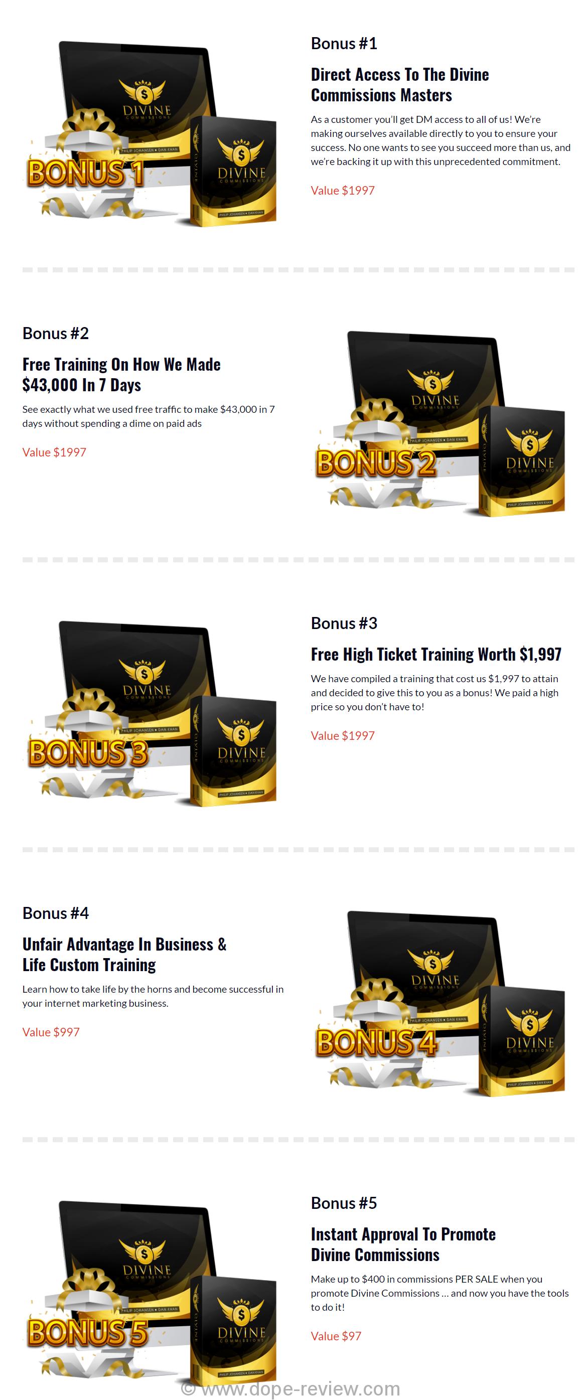 Divine Commissions Bonus